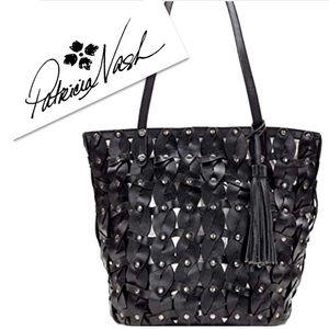Patricia Nash Black Leather Braided Mizanna Tote